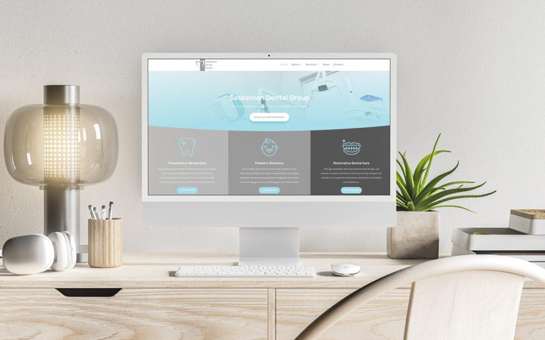 Mockup of webpage on computer on desk